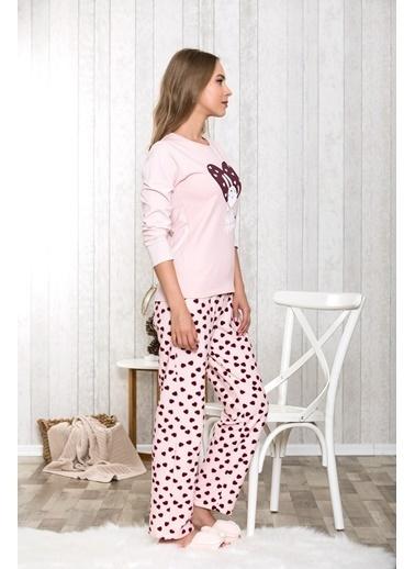 Lingabooms Lovely He Aşk Yazılı Kadın 2'li Pijama Takım  Somon